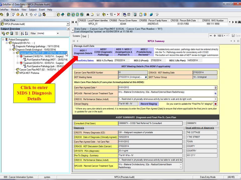 Enter MDS 1 Diagnosis Details
