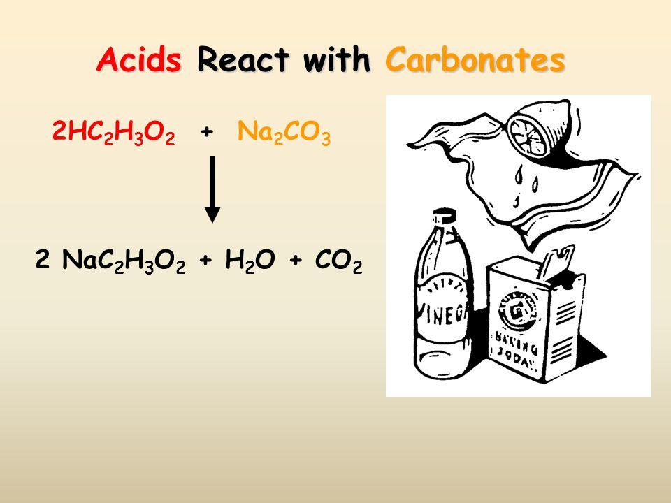 Acids React with Carbonates 2HC 2 H 3 O 2 + Na 2 CO 3 2 NaC 2 H 3 O 2 + H 2 O + CO 2