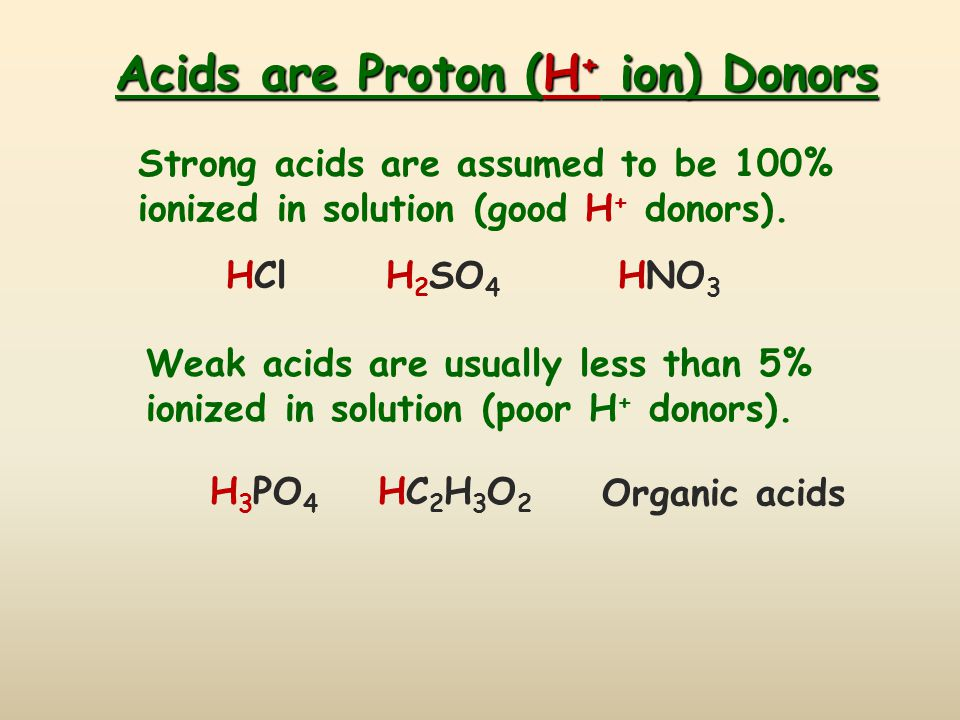 Acids are Proton (H + ion) Donors Strong acids are assumed to be 100% ionized in solution (good H + donors). Weak acids are usually less than 5% ioniz