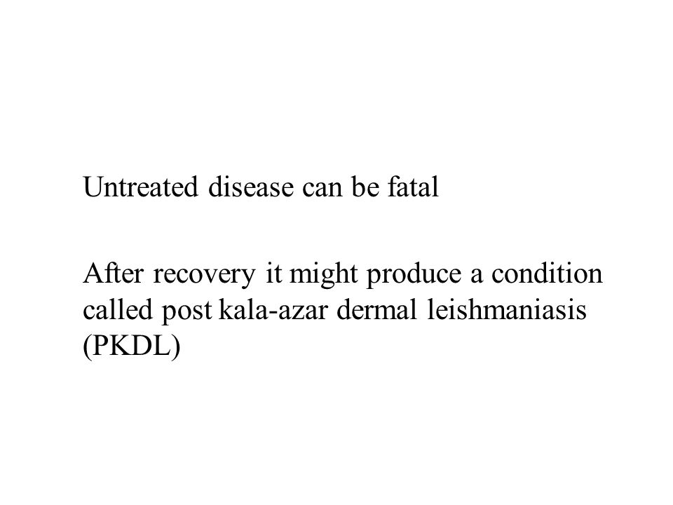 Untreated disease can be fatal After recovery it might produce a condition called post kala-azar dermal leishmaniasis (PKDL)