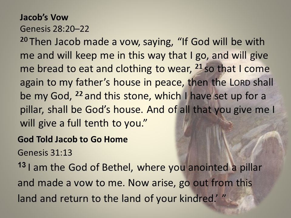 Reflections Honor vows – Jacob vowed to return to Bethel, build an alter and worship God there.