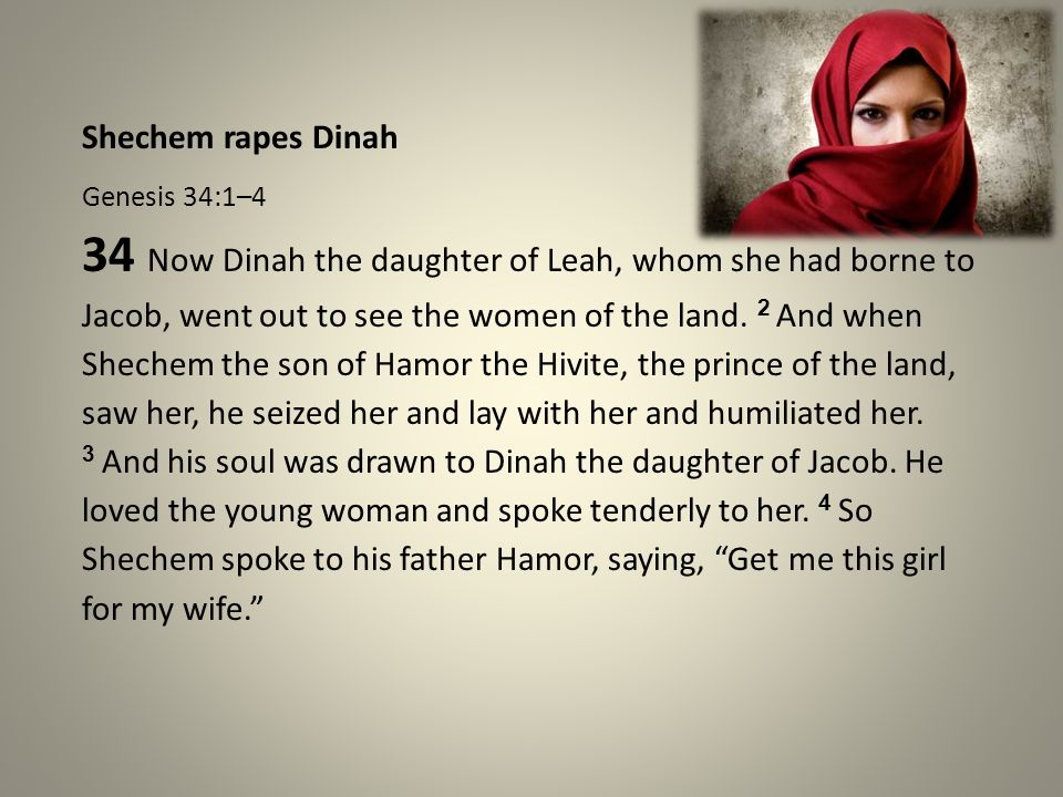 Reactions to the Rape Genesis 34:5–7 5 Now Jacob heard that he had defiled his daughter Dinah.