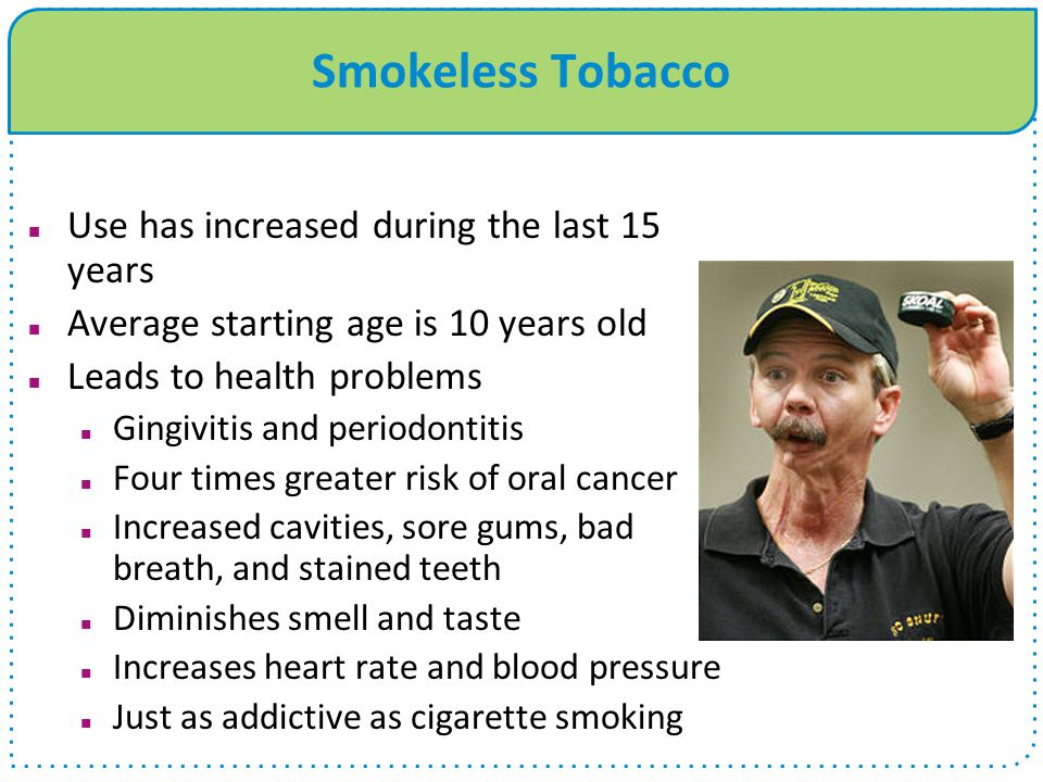 Smokeless Tobacco Use has increased during the last 15 years Average starting age is 10 years old Leads to health problems Gingivitis and periodontitis Four times greater risk of oral cancer Increased cavities, sore gums, bad breath, and stained teeth Diminishes smell and taste Increases heart rate and blood pressure Just as addictive as cigarette smoking