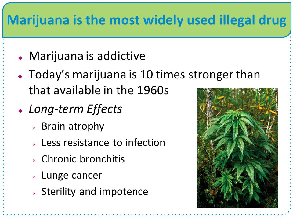 Marijuana is the most widely used illegal drug  Marijuana is addictive  Today's marijuana is 10 times stronger than that available in the 1960s  Long-term Effects  Brain atrophy  Less resistance to infection  Chronic bronchitis  Lunge cancer  Sterility and impotence