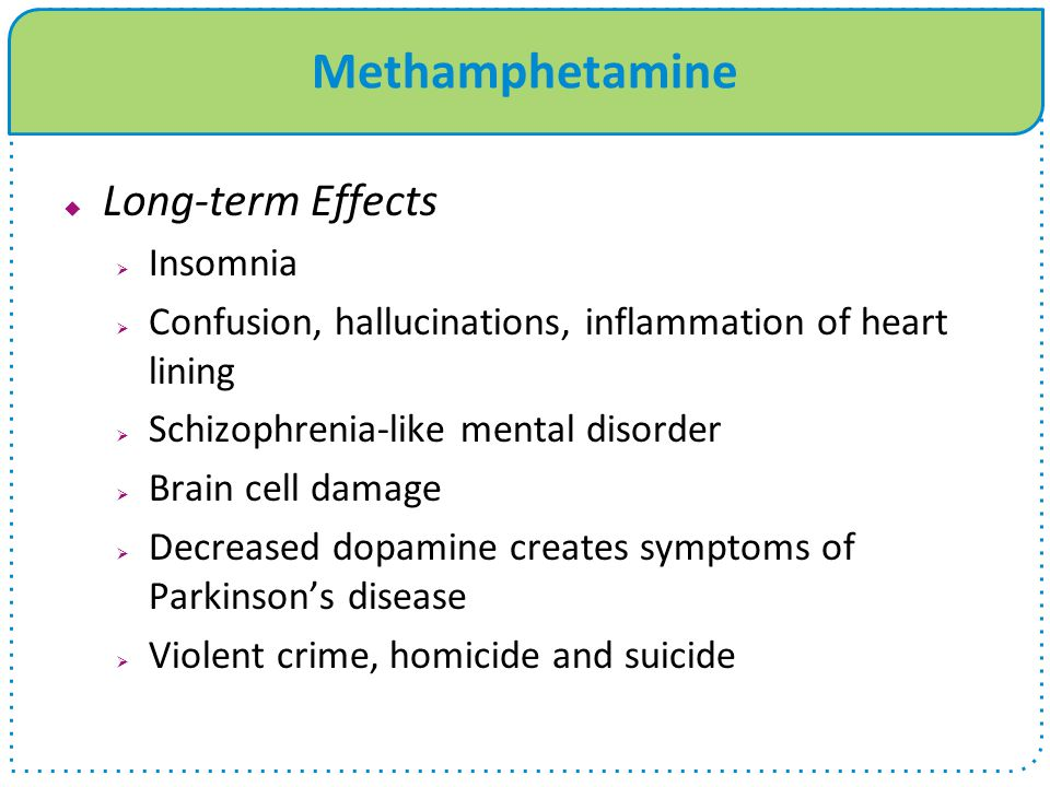 Methamphetamine  Long-term Effects  Insomnia  Confusion, hallucinations, inflammation of heart lining  Schizophrenia-like mental disorder  Brain cell damage  Decreased dopamine creates symptoms of Parkinson's disease  Violent crime, homicide and suicide