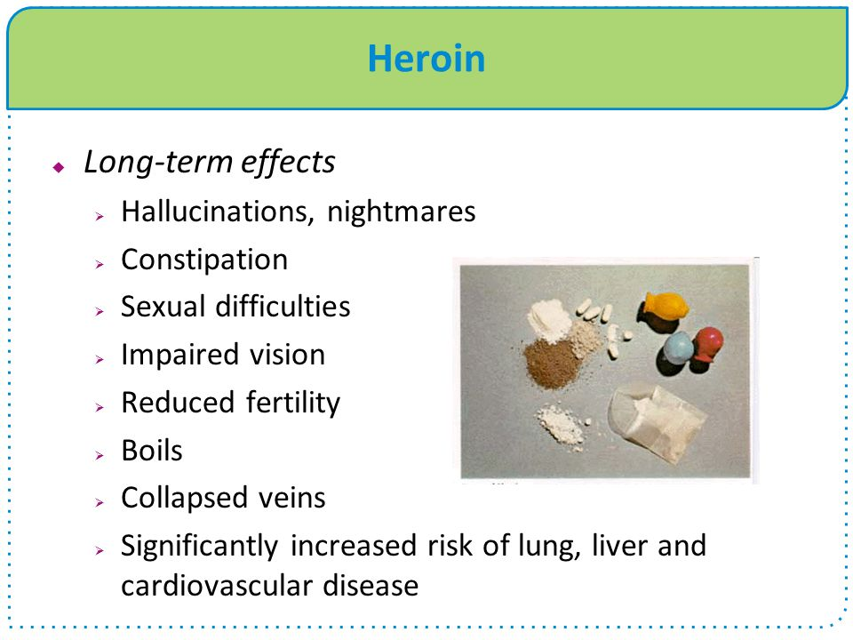 Heroin  Long-term effects  Hallucinations, nightmares  Constipation  Sexual difficulties  Impaired vision  Reduced fertility  Boils  Collapsed veins  Significantly increased risk of lung, liver and cardiovascular disease