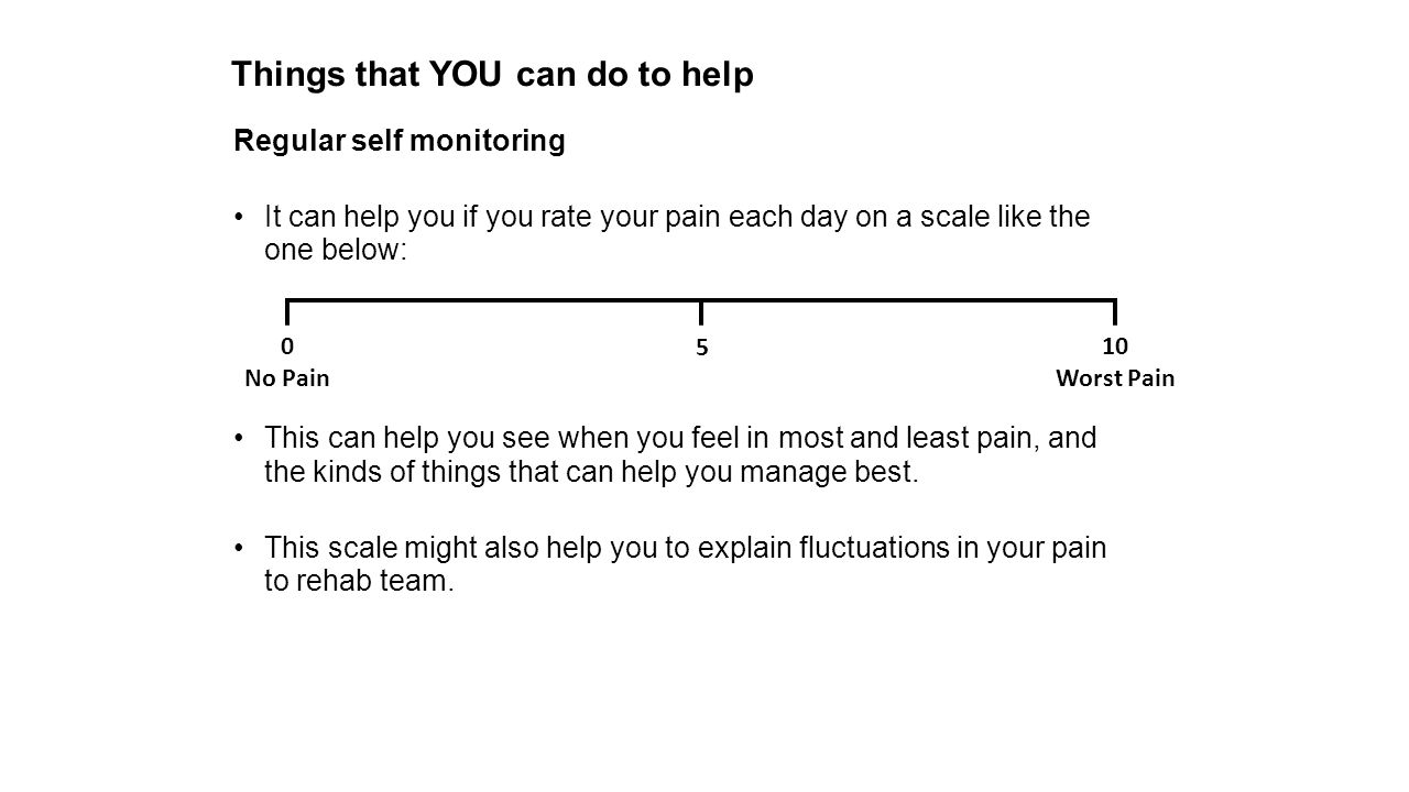 Things that YOU can do to help Regular self monitoring It can help you if you rate your pain each day on a scale like the one below: This can help you