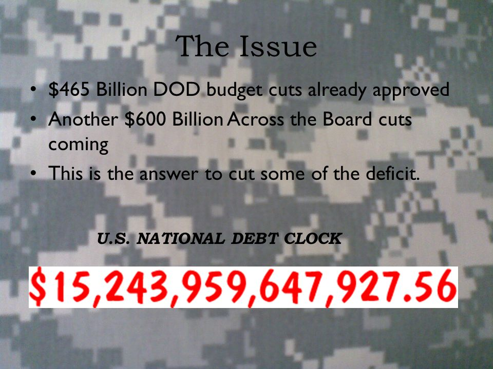 The Issue $465 Billion DOD budget cuts already approved Another $600 Billion Across the Board cuts coming This is the answer to cut some of the deficit.