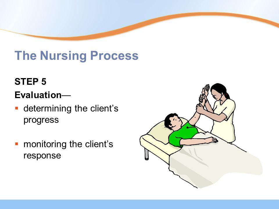 The Nursing Process STEP 5 Evaluation—  determining the client's progress  monitoring the client's response