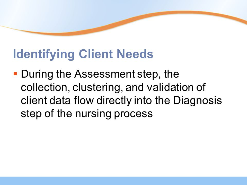 Identifying Client Needs  During the Assessment step, the collection, clustering, and validation of client data flow directly into the Diagnosis step