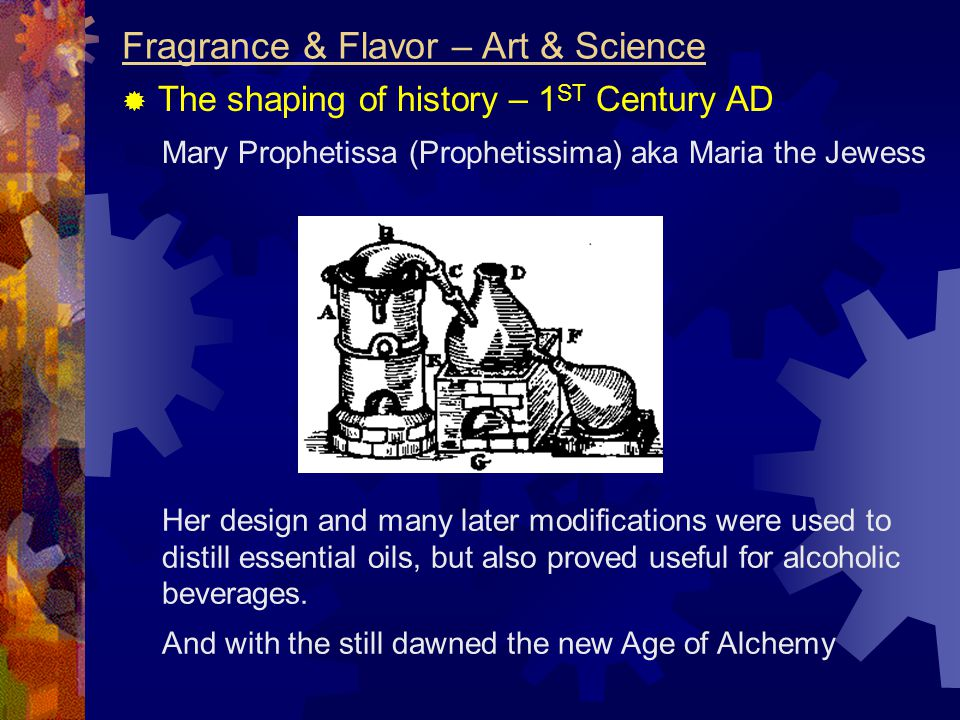 Mary Prophetissa (Prophetissima) aka Maria the Jewess Fragrance & Flavor – Art & Science  The shaping of history – 1 ST Century AD Her design and man