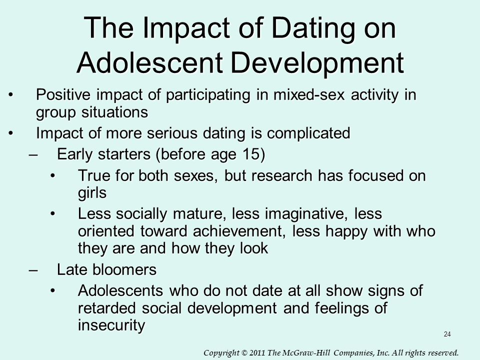 Copyright © 2011 The McGraw-Hill Companies, Inc. All rights reserved. 24 The Impact of Dating on Adolescent Development Positive impact of participati