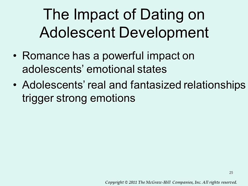 Copyright © 2011 The McGraw-Hill Companies, Inc. All rights reserved. The Impact of Dating on Adolescent Development Romance has a powerful impact on