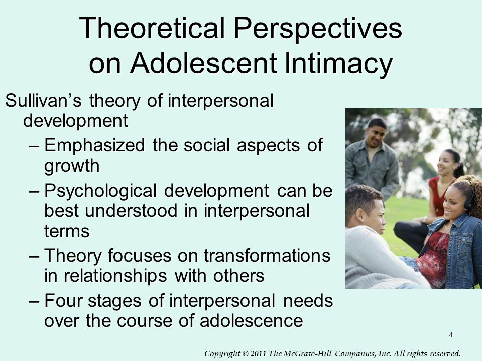 Copyright © 2011 The McGraw-Hill Companies, Inc. All rights reserved. 4 Theoretical Perspectives on Adolescent Intimacy Sullivan's theory of interpers
