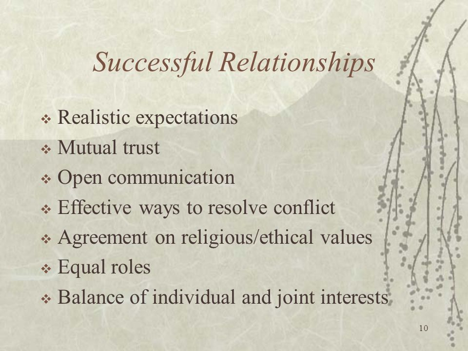 10 Successful Relationships  Realistic expectations  Mutual trust  Open communication  Effective ways to resolve conflict  Agreement on religious