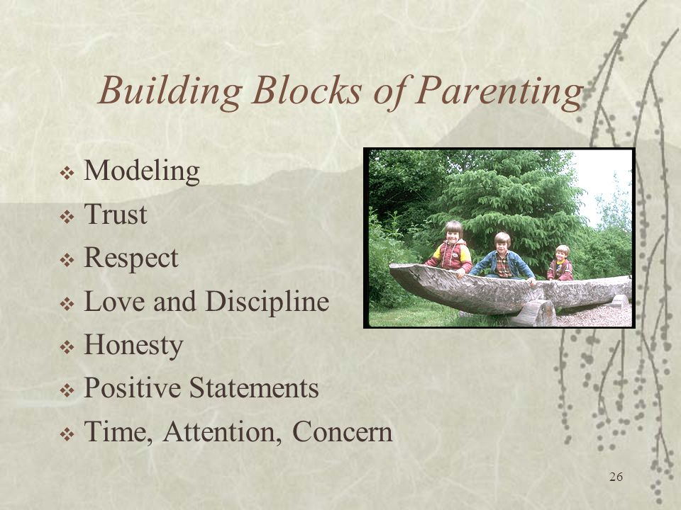 26 Building Blocks of Parenting  Modeling  Trust  Respect  Love and Discipline  Honesty  Positive Statements  Time, Attention, Concern
