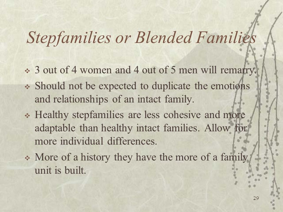 29 Stepfamilies or Blended Families  3 out of 4 women and 4 out of 5 men will remarry.  Should not be expected to duplicate the emotions and relatio