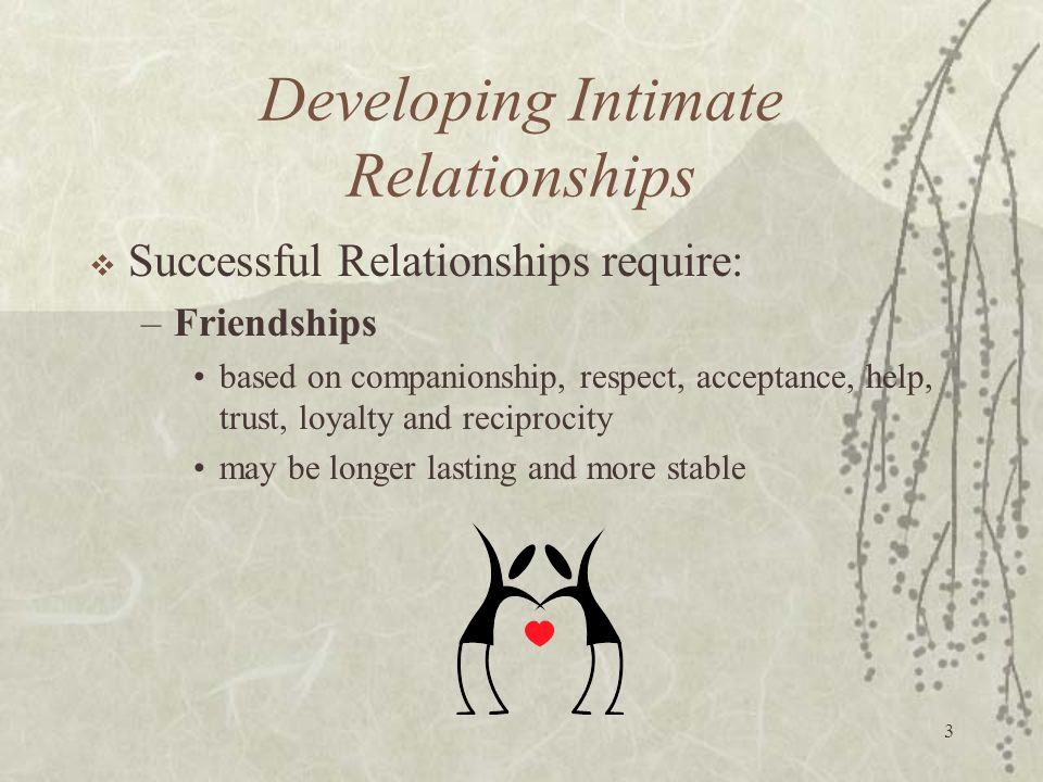 3 Developing Intimate Relationships  Successful Relationships require: –Friendships based on companionship, respect, acceptance, help, trust, loyalty