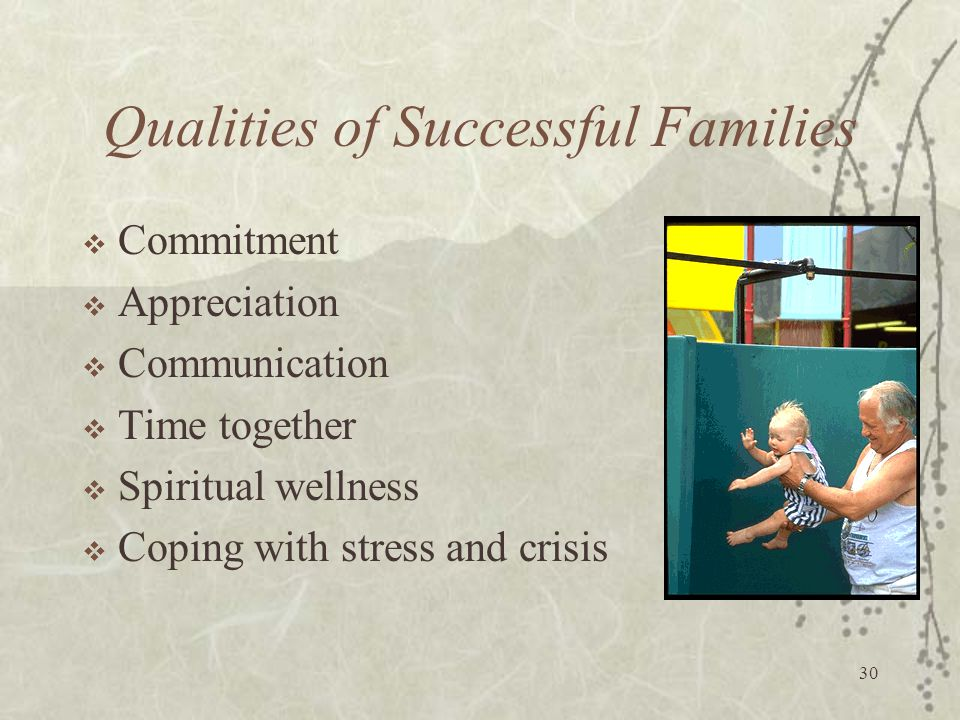 30 Qualities of Successful Families  Commitment  Appreciation  Communication  Time together  Spiritual wellness  Coping with stress and crisis