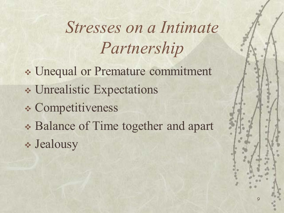 9 Stresses on a Intimate Partnership  Unequal or Premature commitment  Unrealistic Expectations  Competitiveness  Balance of Time together and apa