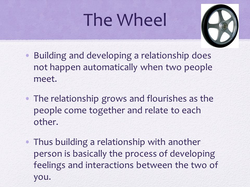 The Wheel Building and developing a relationship does not happen automatically when two people meet.