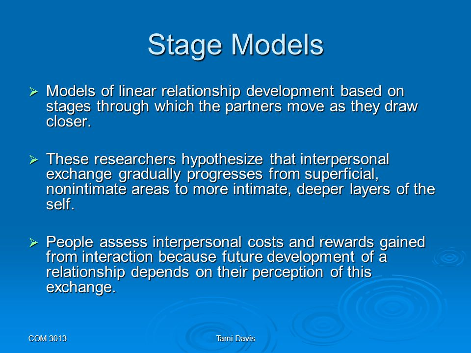 COM 3013Tami Davis Dialectical Approaches  Theorists who question stage models believe they are linear and static, implying relationships remain in the same place for a long time.