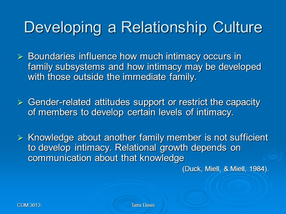 COM 3013Tami Davis communication as a foundation of intimacy  The basis for all relationships lies in the members abilities to share meanings through communication.