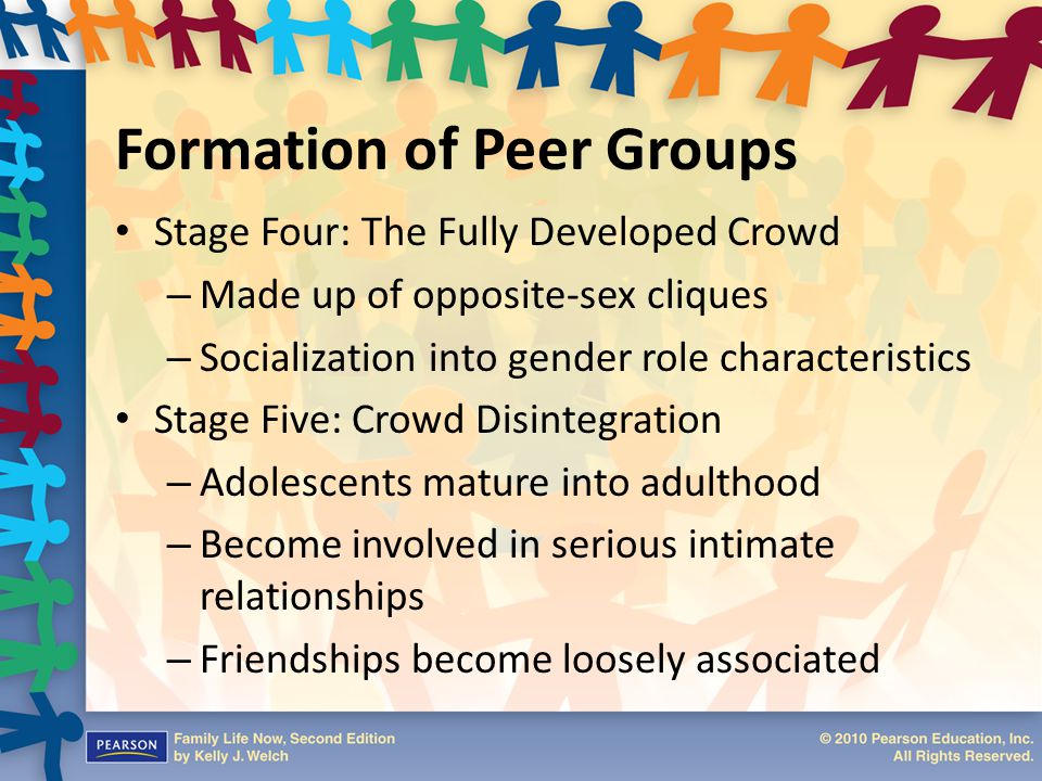 Formation of Peer Groups Stage Four: The Fully Developed Crowd – Made up of opposite-sex cliques – Socialization into gender role characteristics Stag