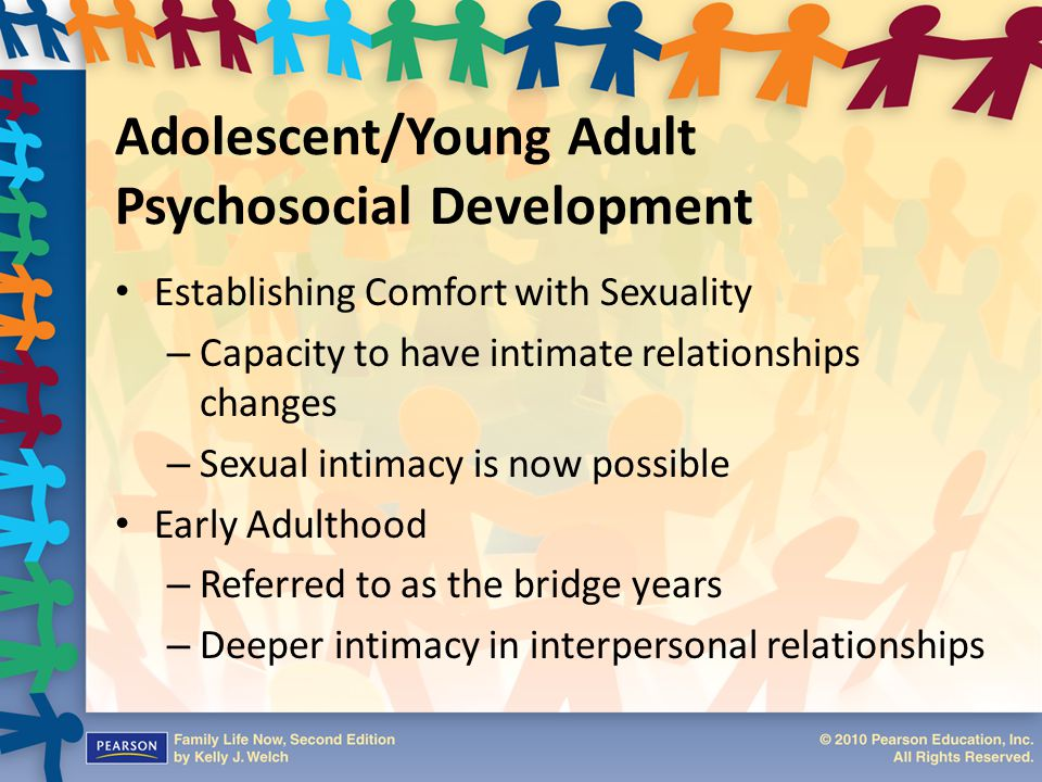 Adolescent/Young Adult Psychosocial Development Establishing Comfort with Sexuality – Capacity to have intimate relationships changes – Sexual intimac