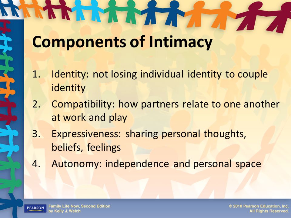Types of Intimates Intimate – Capable of experiencing closeness, forming an emotional attachment to another, committed to depth in a relationship Pseudo-intimate – Appears to be intimate but lacks depth, never progress beyond friendship, relationships are doomed from the outset