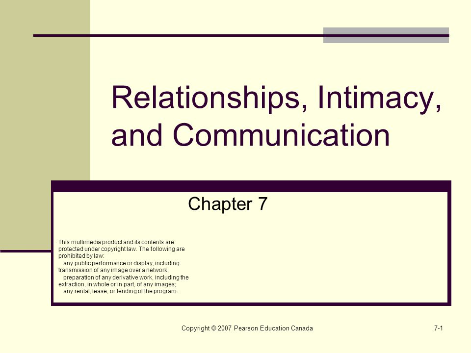 Copyright © 2007 Pearson Education Canada7-1 Relationships, Intimacy, and Communication Chapter 7 This multimedia product and its contents are protect