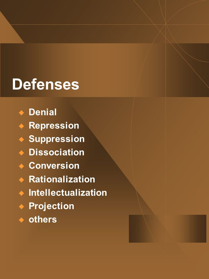 Defenses  Denial  Repression  Suppression  Dissociation  Conversion  Rationalization  Intellectualization  Projection  others