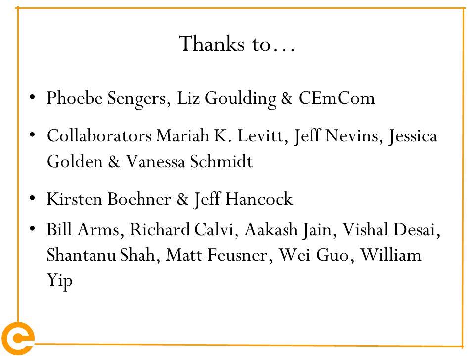 Thanks to… Phoebe Sengers, Liz Goulding & CEmCom Collaborators Mariah K.