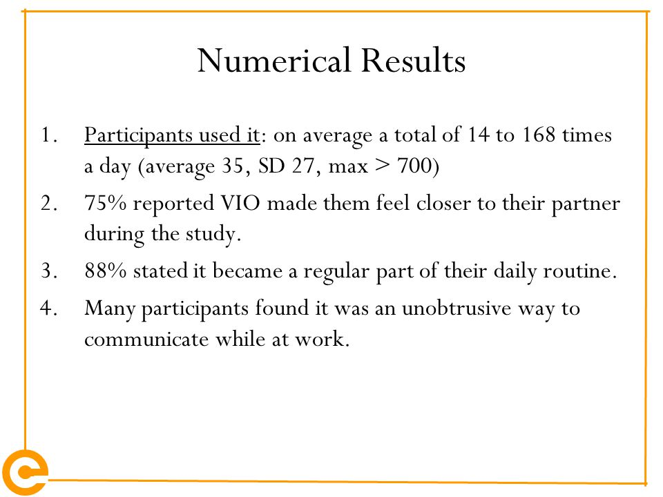 Numerical Results 1.Participants used it: on average a total of 14 to 168 times a day (average 35, SD 27, max > 700) 2.75% reported VIO made them feel
