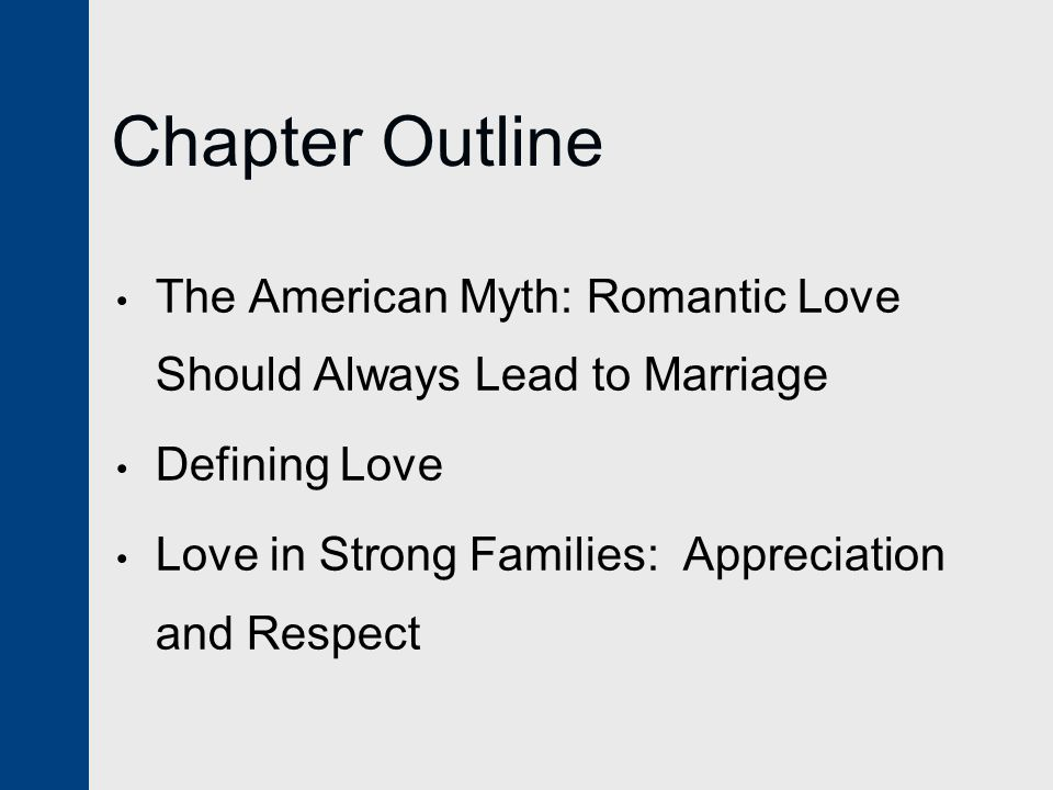 Chapter Outline The American Myth: Romantic Love Should Always Lead to Marriage Defining Love Love in Strong Families: Appreciation and Respect