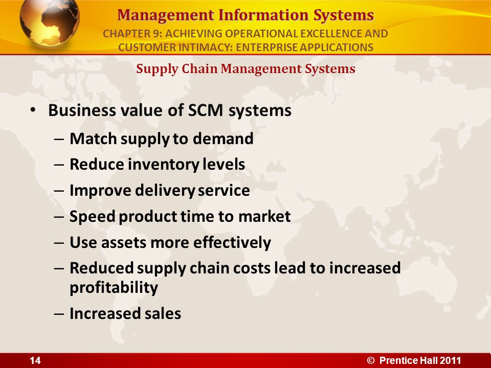 Management Information Systems Business value of SCM systems – Match supply to demand – Reduce inventory levels – Improve delivery service – Speed pro