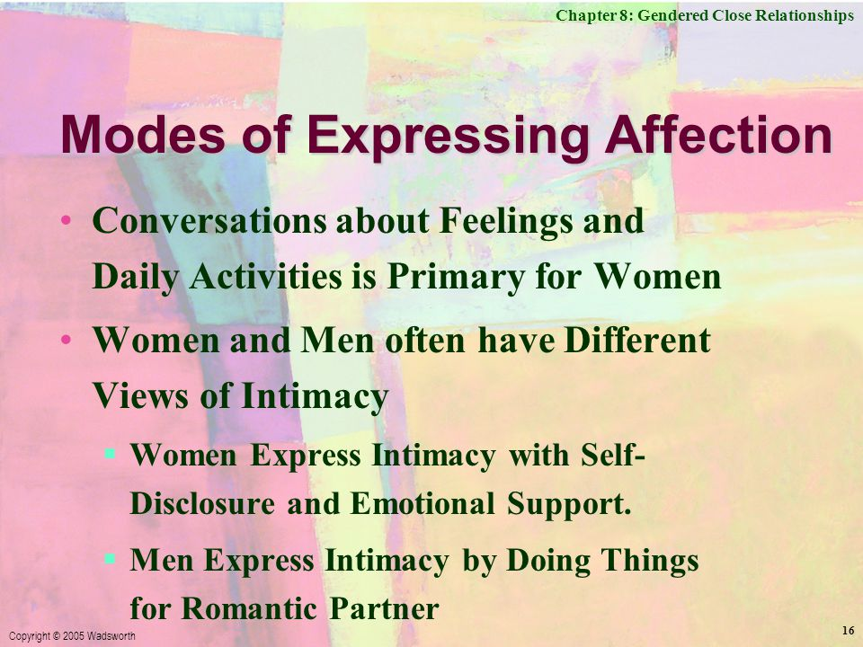 Chapter 8: Gendered Close Relationships Copyright © 2005 Wadsworth 16 Modes of Expressing Affection Conversations about Feelings and Daily Activities is Primary for Women Women and Men often have Different Views of Intimacy  Women Express Intimacy with Self- Disclosure and Emotional Support.