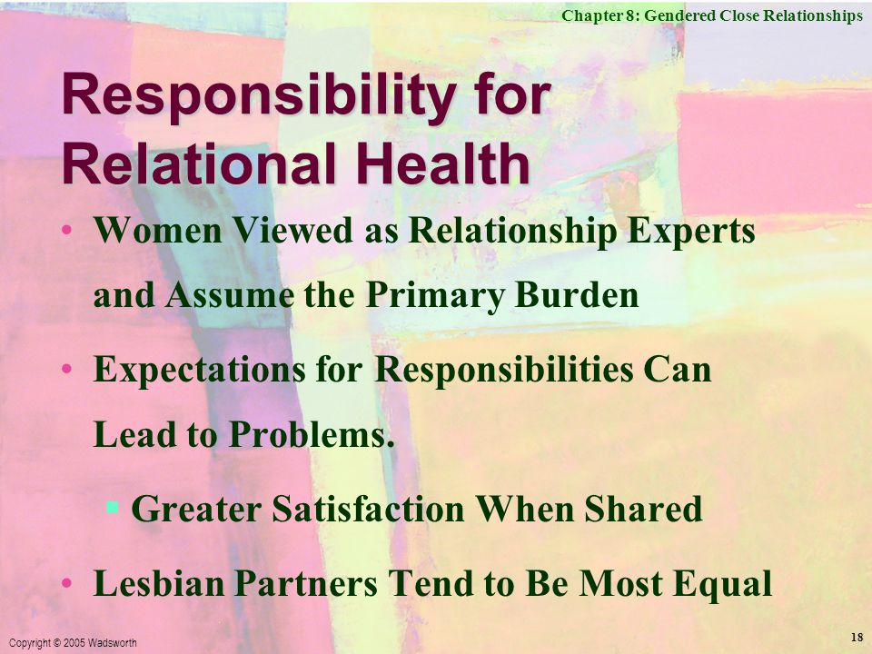 Chapter 8: Gendered Close Relationships Copyright © 2005 Wadsworth 18 Responsibility for Relational Health Women Viewed as Relationship Experts and Assume the Primary Burden Expectations for Responsibilities Can Lead to Problems.