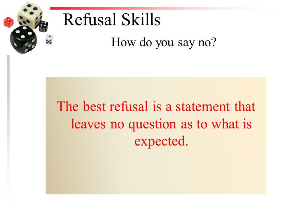 Refusal Skills How do you say no.