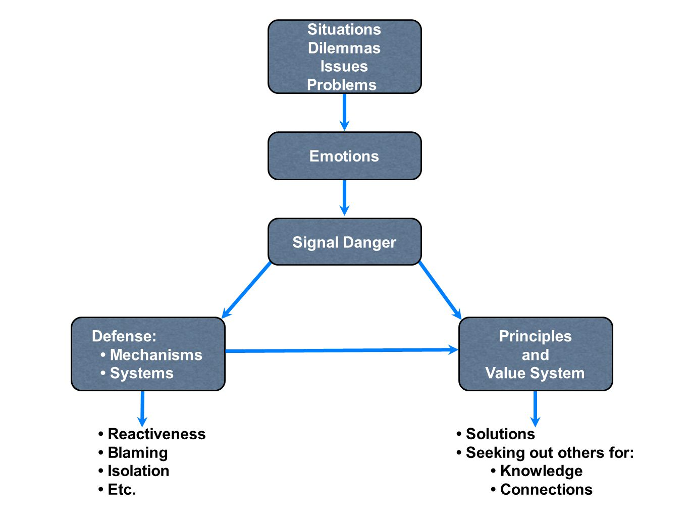 Situations Dilemmas Issues Problems Emotions Signal Danger Defense: Mechanisms Systems Principles and Value System Reactiveness Blaming Isolation Etc.