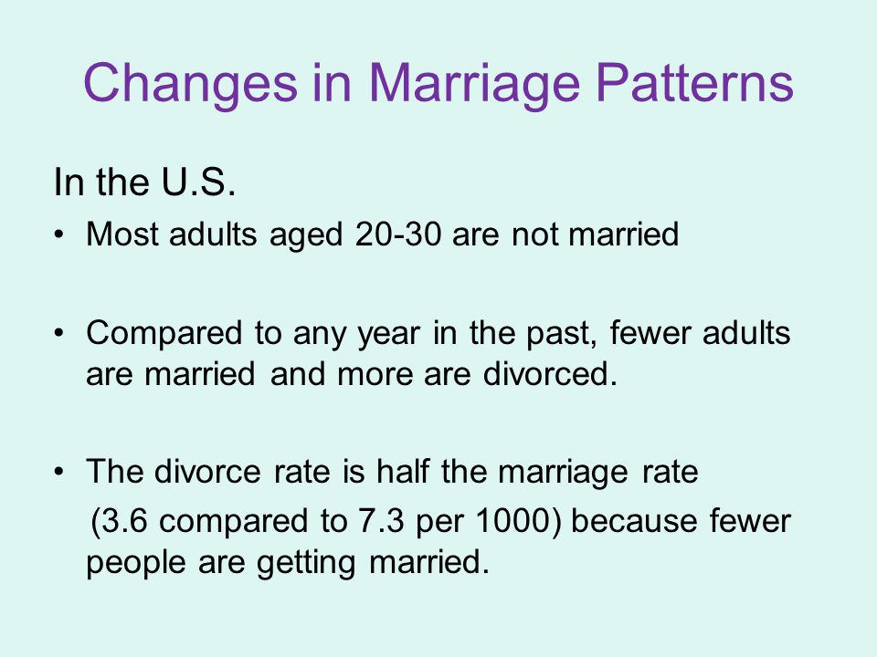 Changes in Marriage Patterns In the U.S.
