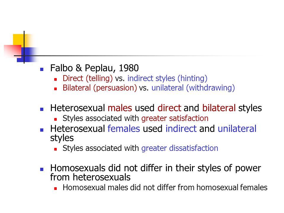 Falbo & Peplau, 1980 Direct (telling) vs.indirect styles (hinting) Bilateral (persuasion) vs.