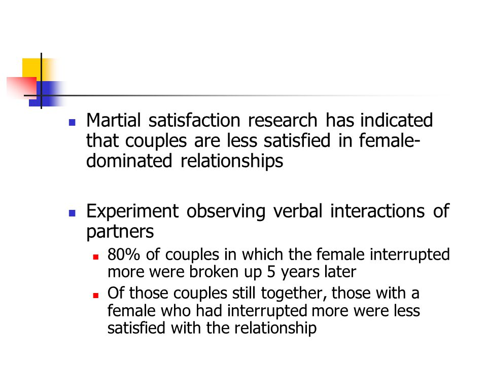 Martial satisfaction research has indicated that couples are less satisfied in female- dominated relationships Experiment observing verbal interactions of partners 80% of couples in which the female interrupted more were broken up 5 years later Of those couples still together, those with a female who had interrupted more were less satisfied with the relationship