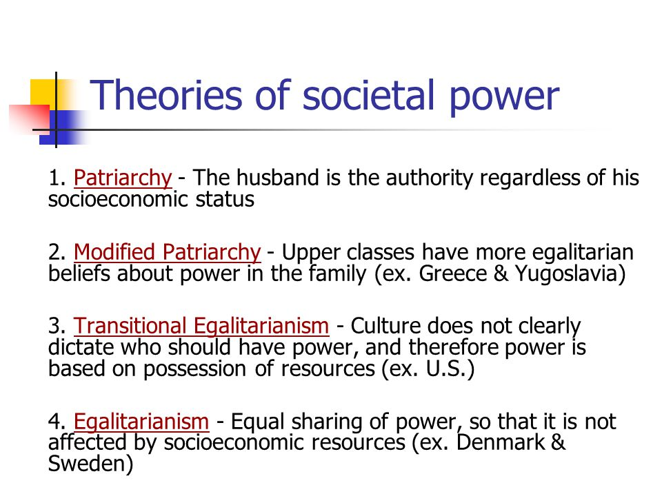 1.Patriarchy - The husband is the authority regardless of his socioeconomic status 2.