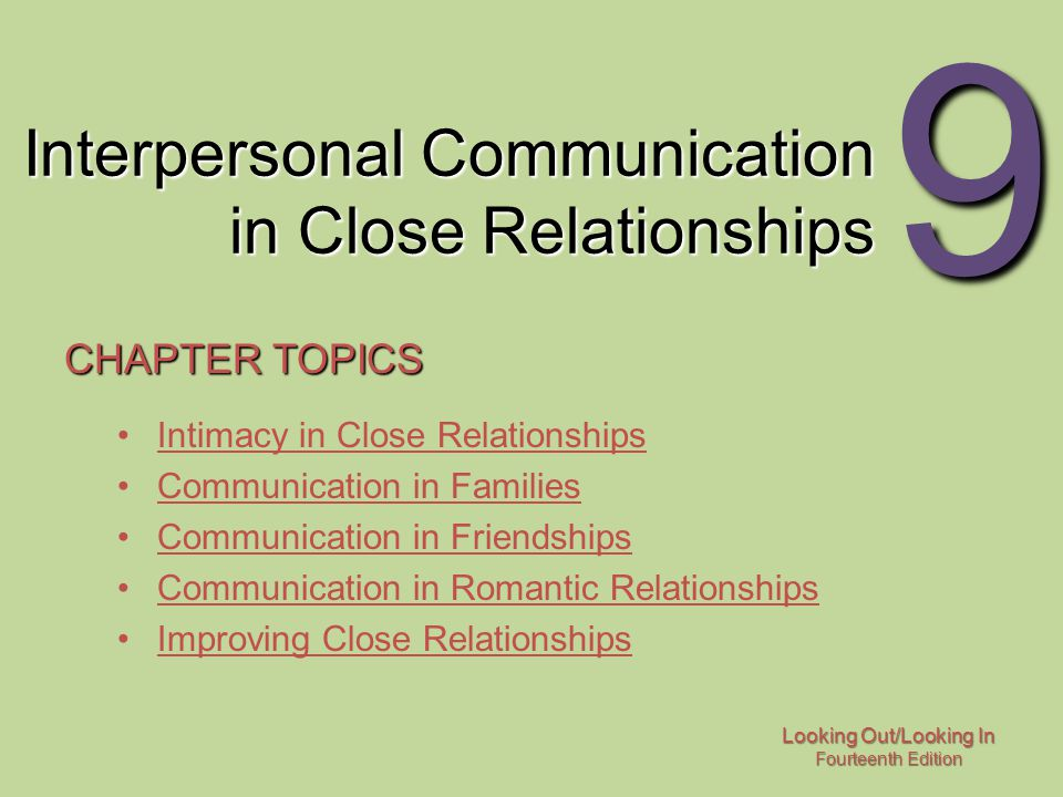 Looking Out/Looking In Fourteenth Edition 9 Interpersonal Communication in Close Relationships CHAPTER TOPICS Intimacy in Close Relationships Communic