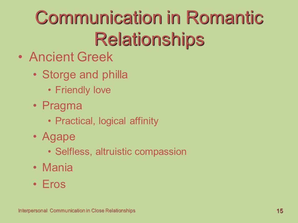 15 Interpersonal Communication in Close Relationships Communication in Romantic Relationships Ancient Greek Storge and philla Friendly love Pragma Pra