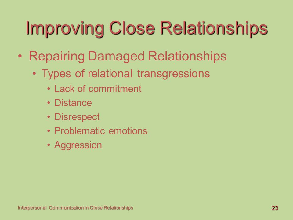 23 Interpersonal Communication in Close Relationships Improving Close Relationships Repairing Damaged Relationships Types of relational transgressions