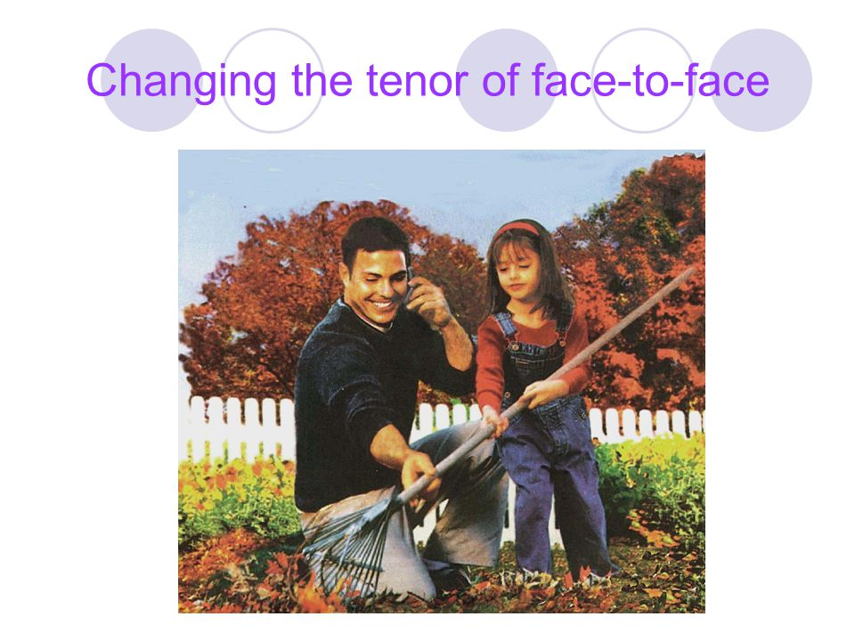 Changing the tenor of face-to-face