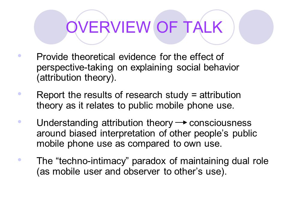 OVERVIEW OF TALK Provide theoretical evidence for the effect of perspective-taking on explaining social behavior (attribution theory). Report the resu