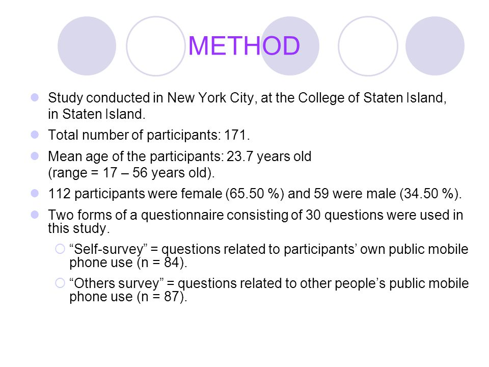METHOD Study conducted in New York City, at the College of Staten Island, in Staten Island. Total number of participants: 171. Mean age of the partici